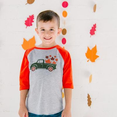 Sweet Wink Boys Heather Gray Tee Shirt with Orange Sleeves - Truck of Fall Leaves