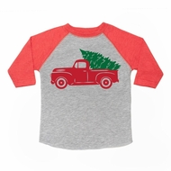 Sweet Wink Boys Heather Gray Tee Shirt with Red Sleeves - Christmas Tree Truck