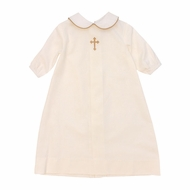 The Bailey Boys Baby Boys Ivory Cross Christening Day Gown - Boy