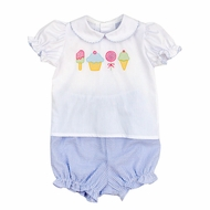 The Bailey Boys Baby Girls Blue Sweet Candy Shop Bloomer Set