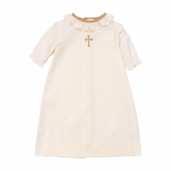 The Bailey Boys Baby Girls Ivory Cross Christening Day Gown - Girl