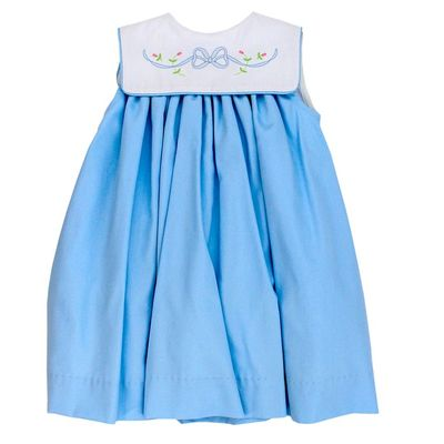 The Bailey Boys Baby / Toddler Girls Blue Bonnet Float Dress - Shadow Stitch Bow on Collar