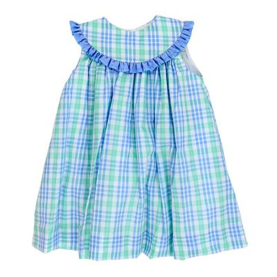 The Bailey Boys Baby / Toddler Girls Blue Watercolor Plaid Float Dress