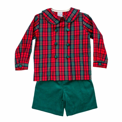 The Bailey Boys Boy Green Cord Dress Shorts with Red Holiday Plaid Shirt