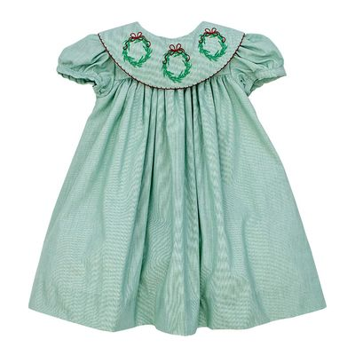 The Bailey Boys Girls Green Christmas Dress - Platter Collar with Embroidered Wreaths