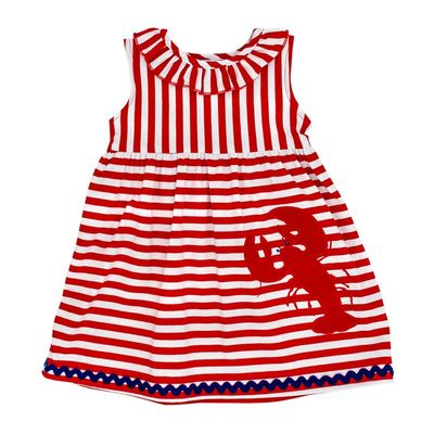 The Bailey Boys Girls Red Striped Knit Lobster Dress