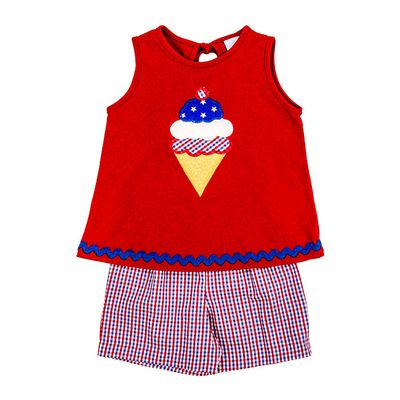 The Bailey Boys Girls Shorts Set - Ice Cream Cone on Red Top