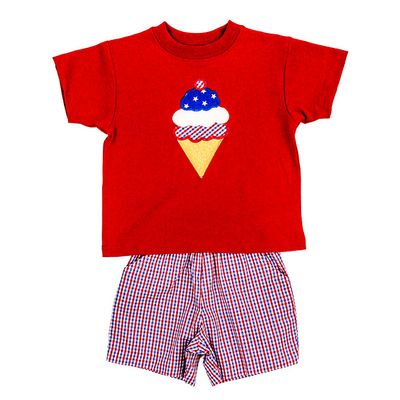 The Bailey Boys Shorts Set - Ice Cream Cone on Red Shirt with Patriotic Plaid Shorts