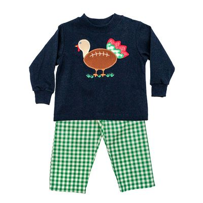 The Bailey Boys Toddler Football Touchdown Turkey Shirt with Green Check Pants
