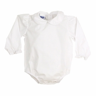 The Bailey Boys White Piped Blouse Onesie - Long Sleeves - Girls