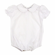 The Bailey Boys White Piped Blouse Onesie - Short Sleeves - Girls