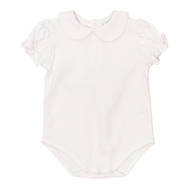 The Bailey Boys White Piped Blouse Onesie - Short Sleeves - Knit - Girls