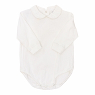 The Bailey Boys White Piped Shirt Onesie - Long Sleeves - Knit - Boys