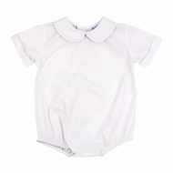 The Bailey Boys White Piped Shirt Onesie - Short Sleeves - Boys