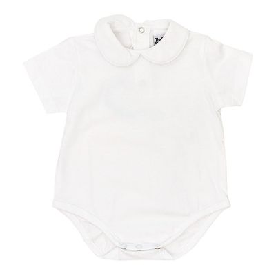 The Bailey Boys White Piped Shirt Onesie - Short Sleeves - Knit - Boys