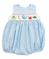 The Best Dressed Child Baby Boys Blue Check Smocked Ocean Sea Bubble