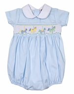 The Best Dressed Child Baby Boys Blue Smocked Carousel Horses Bubble