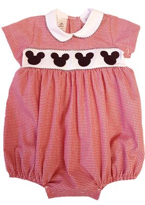 The Best Dressed Child Baby Boys Embroidered Mouse Ears Bubble - Red Gingham