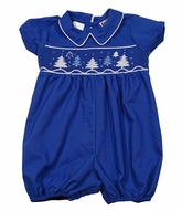 The Best Dressed Child Baby Boys Royal Blue Smocked Christmas Trees Bubble
