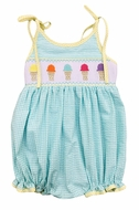 The Best Dressed Child Baby Girls Aqua Check Smocked Ice Cream Cones Bubble with Ties