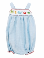 The Best Dressed Child Baby Girls Blue Check Smocked Ocean Sea Bubble