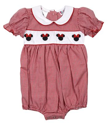 The Best Dressed Child Baby Girls Embroidered Minnie Mouse Bubble - Red Gingham