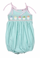 The Best Dressed Child Baby / Toddler Girls Mint Green Gingham Smocked Snow Cones Bubble