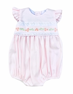 The Best Dressed Child Baby Girls Pique Embroidered Bubble - Pastel Pink