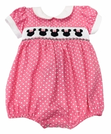 The Best Dressed Child Baby Girls Smocked Minnie Mouse Bubble - Pink Dots