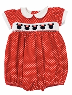 The Best Dressed Child Baby Girls Smocked Minnie Mouse Bubble - Red Dots