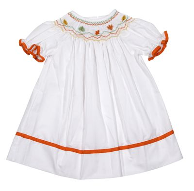 The Best Dressed Child Baby Girls White Bishop Dress - Smocked Fall Leaves