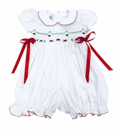 The Best Dressed Child Baby Girls White Smocked Christmas Bubble - Red Bows at Sides