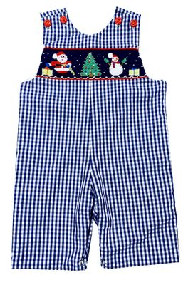 The Best Dressed Child Baby / Toddler Boys Blue Check Smocked Santa & Christmas Tree Longall