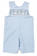 The Best Dressed Child Baby / Toddler Boys Blue Check Smocked White Reindeer & Snowy Trees Longall
