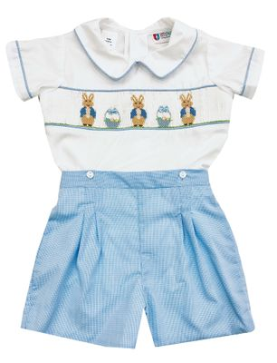 The Best Dressed Child Baby / Toddler Boys Blue Check Smocked Peter Rabbit Bunny Shorts Set