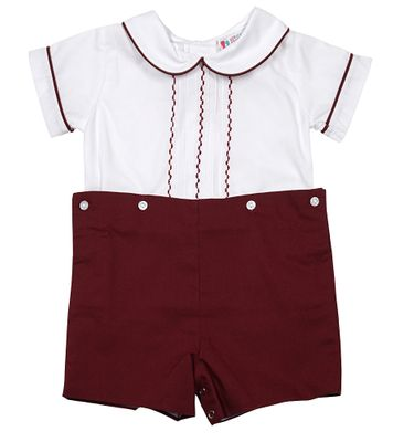 The Best Dressed Child Baby / Toddler Boys Cranberry Burgundy Finn Button On Suit