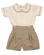 The Best Dressed Child Baby / Toddler Boys George Button On Set - Tan Swiss Dot