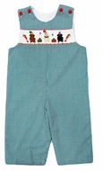 The Best Dressed Child Baby / Toddler Boys Green Check Smocked Christmas Pups Longall