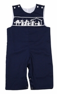 The Best Dressed Child Baby / Toddler Boys Navy Blue Smocked Nativity Longall