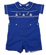 The Best Dressed Child Baby / Toddler Boys Royal Blue Smocked Christmas Trees Button On Suit