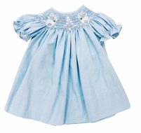 The Best Dressed Child Baby / Toddler Girls Blue Check Smocked White Reindeer & Snowy Trees Dress - Bishop