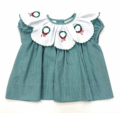 The Best Dressed Child Baby / Toddler Girls Green Check Dress - Embroidered Christmas Wreaths on Scallop Collar