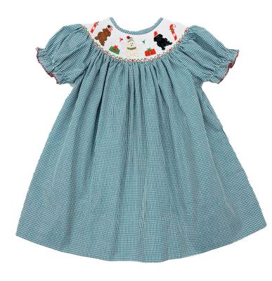 The Best Dressed Child Baby / Toddler Girls Green Check Smocked Christmas Pups Bishop Dress
