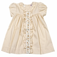 The Best Dressed Child Baby / Toddler Girls Molly Dress - Tan Swiss Dot with Fall Embroidery