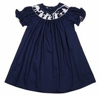 The Best Dressed Child Baby / Toddler Girls Navy Blue Smocked Nativity Dress - Bishop