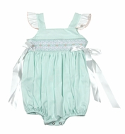 The Best Dressed Child Baby / Toddler Girls Smocked Bubble - Flutter Sleeves & Side Bows - Pastel Mint Green