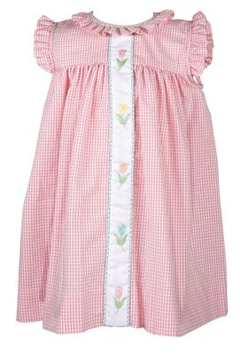 The Best Dressed Child Baby / Toddler Girls Pink Check Molly Dress - Tulips Placket