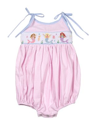 The Best Dressed Child Baby / Toddler Girls Pink Gingham Smocked Mermaids Bubble
