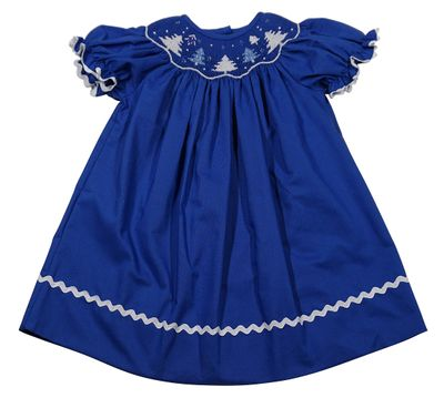 The Best Dressed Child Baby / Toddler Girls Royal Blue Smocked Christmas Trees Dress - Bishop