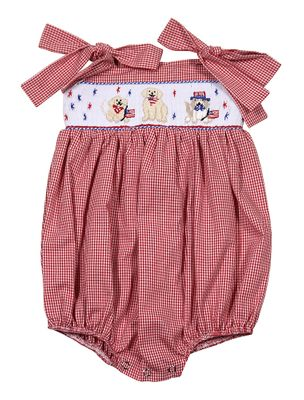 The Best Dressed Child Baby / Toddler Girls Red Gingham Smocked Patriotic Dogs Bubble
